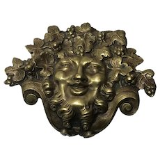 Small Victorian Antique Gilt Ormolu Curved Bronze Green Man Mount Fixture