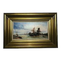 Fine Art Dutch Antique 19th Century Maritime Oil Painting Fishing Ships Harbour Windmill