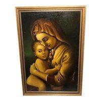 Fine 20th Century Oil Painting English School Religious Madonna & Child Portrait