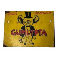 Small Circa 1950's Australian Enamel GUMLYPA Koala Bear Chewing Gum Sign