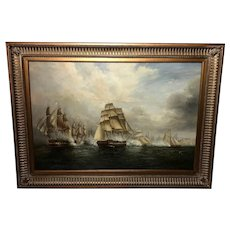 Large English Marine Oil Painting Napoleonic Sea Battle Ships Signed Ian Haden
