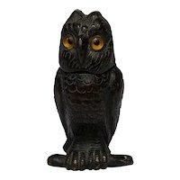Victorian English Bronze Bird Tawny Owl Vesta Match Case Striker