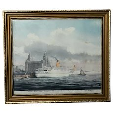 Artwork RMS Empress of England & Britain Liner Ships & Tug Boats River Mersey