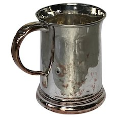 English Antique Early Victorian 19th Century Silver Plate Pint Tankard