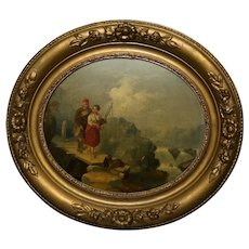Victorian Scottish Highland Oval Oil Painting Ghillie & Girl With Bagpipes & Terrier