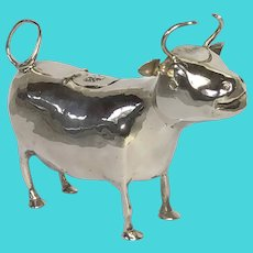 Victorian English Solid Sterling Silver Cow Creamer William Moering Circa 1900