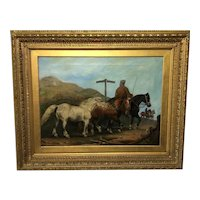 """Victorian Oil Painting Horses """"On The Road"""" To Chester Edward Lloyd Ellesmere Circa 1874"""