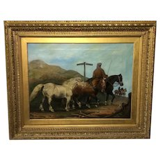 "Victorian Oil Painting Horses ""On The Road"" To Chester Edward Lloyd Ellesmere Circa 1874"
