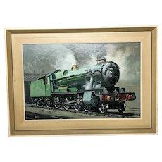 Oil Painting Circa 1979 Railway Train Engine County Bucks 1001 Signed D Hey