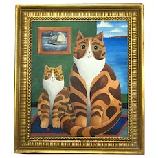 English School Abstract Fine Art Mid 20th Century Oil Painting Cornish Ginger Striped Cats