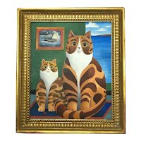 Fine Mid 20th Century Postimpressionism Oil Painting Cornish Ginger Striped Cats Portrait