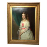 Huge 19th Century Oil Painting Scottish Young Lady Matthias Robinson (1856-1895)