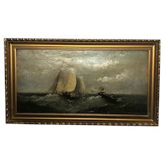Victorian Marine Oil Painting Dutch Shipping In A Swell Listed Harry J Williams