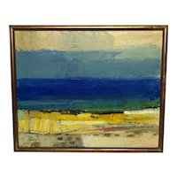 Cubism Oil Painting Stenungsund Swedish Coastal Beach Karl Axel Gadd 1910-1997