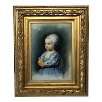 Victorian Watercolour Painting Portrait Young Louis Joseph Dauphin Of France Circa 1898