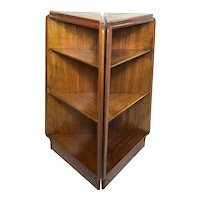 Fine Pair Vintage 20th Century Pyramid Small Bookshelves Teak Bookcases