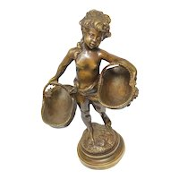 French 19th Century Girl Carrying Flower Baskets Figurine Signed Auguste Moreau