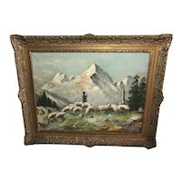 Italian Antique 19th Century Fine Art Oil Painting Matterhorn Mountain Shepherd & Flock