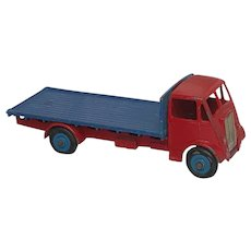 English 1950's Diecast Dinky Toy GUY 512 Red Cab Truck Blue Flatbed