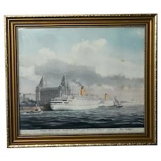 Watercolour RMS Empress of England & Britain Liner Ships River Mersey