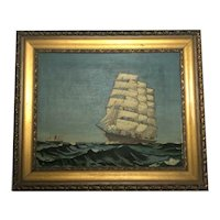 English Circa 1940 Marine Oil Painting Clipper Steam Ships Sailing Clyde