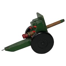 Vintage Model Toy Original Chad Valley Green Cannon Artillery On Wheels