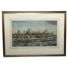 19th Century Watercolour Liverpool Paddle Ferry Ships River Mersey Signed McGahey