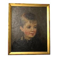 English School Antique Victorian Art Oil Painting Portrait Young Blonde Child Boy