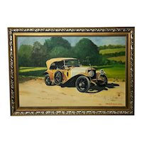 20th Century Oil Painting Classic Car Rolls Royce Silver Ghost