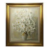 20th Century Oil Painting Bouquet Flowers Signed Elizabeth Rouviere