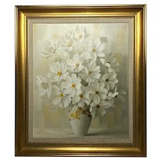 20th Century Oil Painting Bouquet Flowers Signed Elizabeth Rouviere