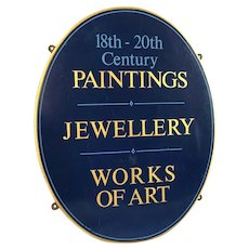 Vintage Original Advertising Business Shop Oval Wood Sign With Inscription Paintings Jewellery Works Of Art
