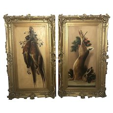 Pair Antique Art Oil Paintings Hunt Game Birds Rabbit British School Maud Thomas