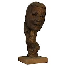French 20th Century Carved Wood Lady's Head Bust Sculpture