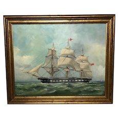 "Oil Painting ""Windsor Castle"" Mail Steamer Ship Signed Dorothy Lightfoot (1909-2002)"
