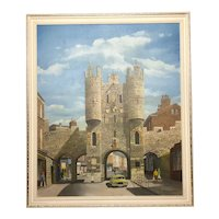 """Oil Painting Architectural Entrance """"Micklegate Bar"""" York Signed F Chilton"""