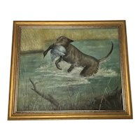 British 1950's Oil Painting Hunting Dog Carrying Prey Signed Hugh