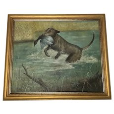British School 20th Century 1950's Fine Wall Art Oil Painting Hunting Dog Carrying Duck Prey