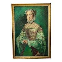 Large English Portrait Of Aristocratic Tudor Lady Wearing Fine Elizabethan Dress