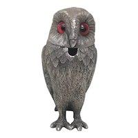 1 Fine Rare Small Vintage Mid 20th Century 1940 Hallmarked Silverplate Owl Mustard Pot