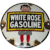 Small Fine Canadian Mid 20th Century White Rose Gasoline Advertising Wall Enamel Sign