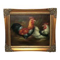 English School 19th Century Victorian Fine Wall Art Oil Painting Poultry Hen Birds