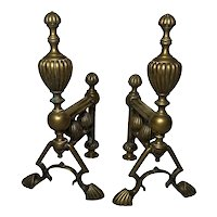 Pair Fine Antique 19th Century Brass Fire Dogs Reeded Finials Paw Feet