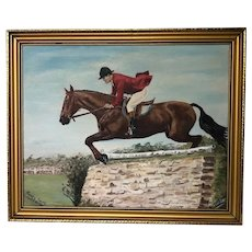 Fine British Wall Art Oil Painting Equestrian Show Jumping Champion Horse & Rider Mattie Brown With Rider Mr Harvey Smith