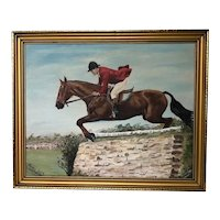 Fine English Oil Painting Equestrian Horse & Rider Circa 1970's Signed C Baker