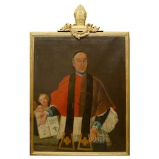Large Fine 18th Century Italian Religious Oil Painting Portrait Pope Clement XIII