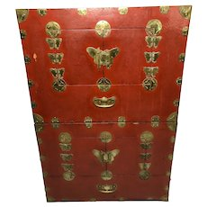 Pair Antique Chinese Brass Bound Red Lacquer Cabinets