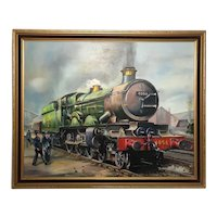 Oil Painting Railway Train Engine Princess Margaret 4056 Signed Ken Allsebrook