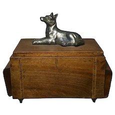 French Art Deco Silver Dog Cigarette Cigar Walnut & Satinwood Inlaid Box Case
