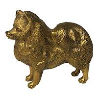 20th Century Gilt Bronze Spitz Dog Car Mascot Signed A G Ward